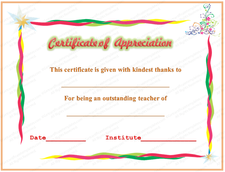 of Appreciation for Outstanding Teaching – Certification of Appreciation Wording