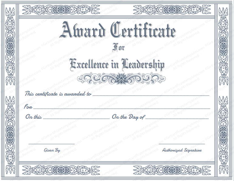 Formal certificate templates best leader award certificate template yadclub Gallery