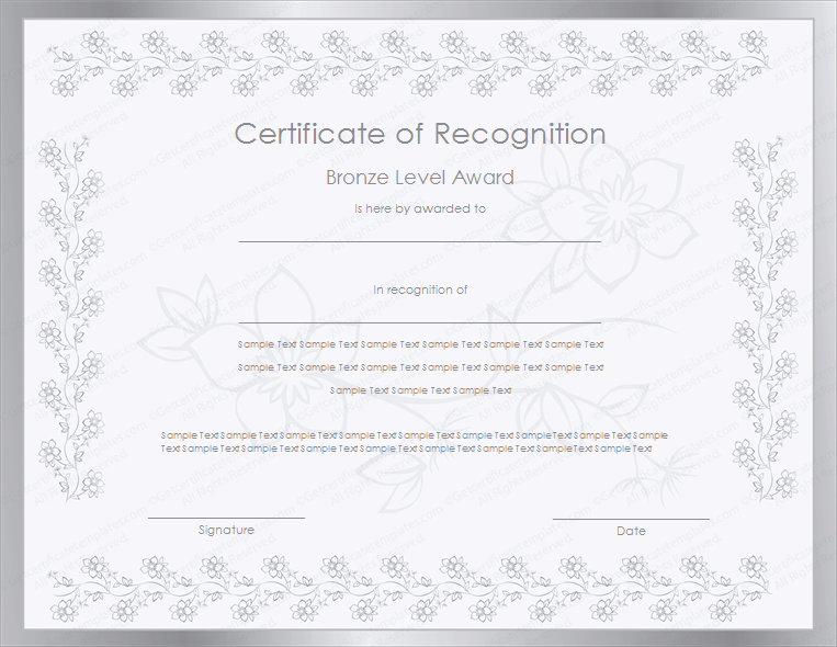 Certificate of appreciation templates certificate templates silver level certificate of recognition template yadclub Images