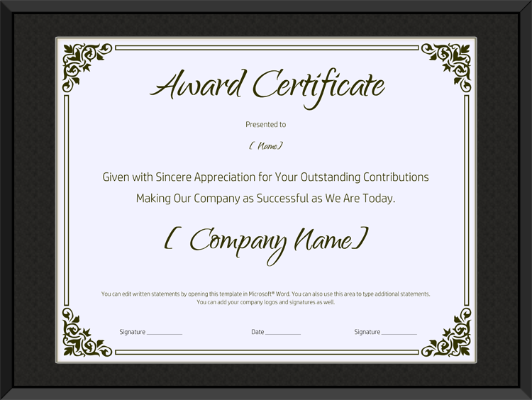 Microsoft Word Certificate Of Appreciation Template Zrom