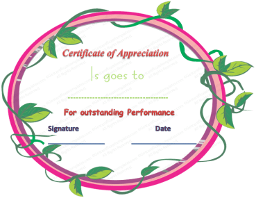 Certificate of Appreciation Template for Outstanding Performance