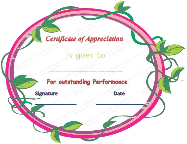 certificate of appreciation for outstanding performance
