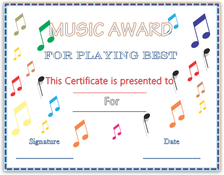 Colorful musical notes award certificate template yadclub Gallery