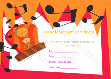 Music Lessons Gift Certificate Template