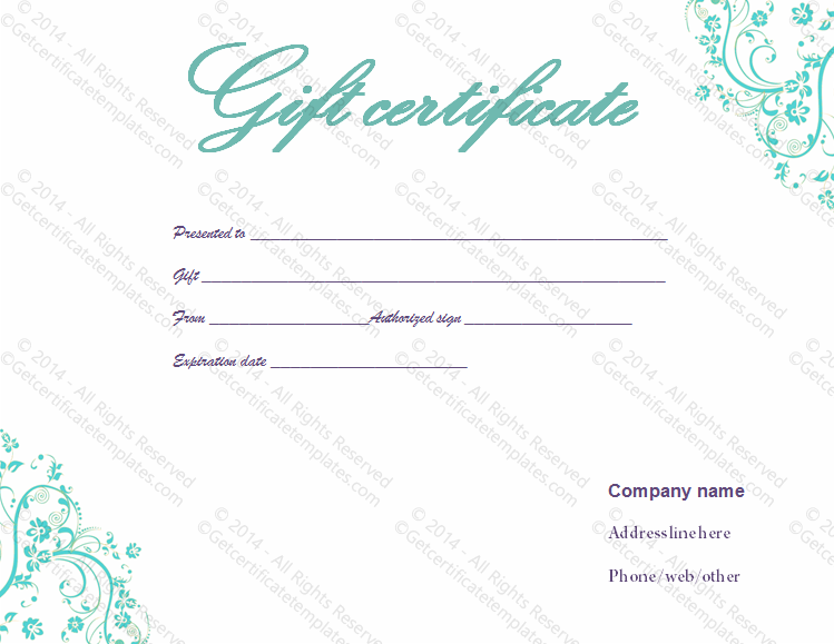 Light Blue Swirls Gift Certificate Template