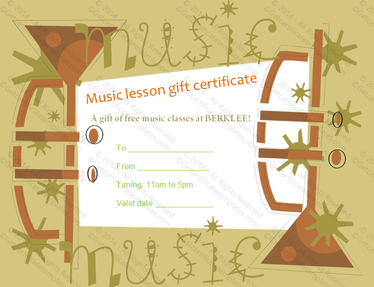 trumpet music gift certificate template