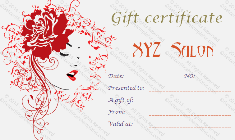 Artistic salon gift certificate template for Free printable hair salon gift certificate template
