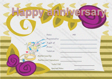 Happy Anniversary Gift Certificate Template