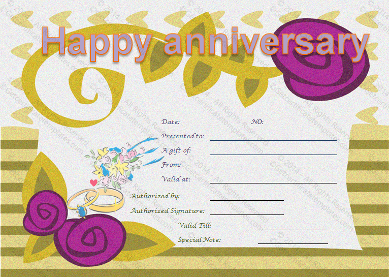 wedding anniversary certificate template - wedding anniversary gifts wedding anniversary gift