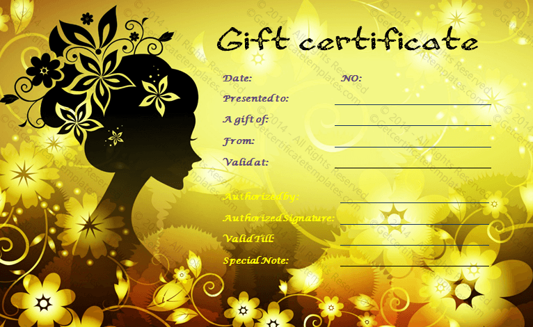 Sparking salon gift certificate template yadclub Image collections