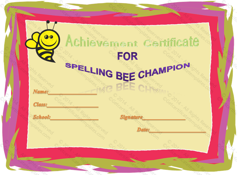 spelling bee certificate templates new calendar template site