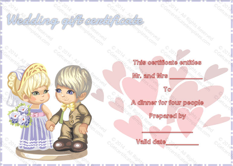 sweet love wedding gift certificate template