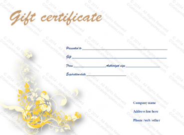 Valued Gift Certificate Template