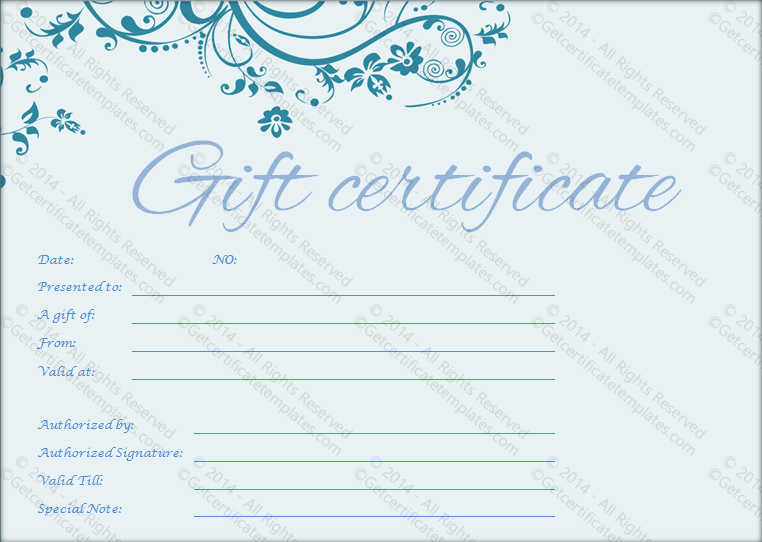 Pretty blue gift certificate template a pretty blue gift certificate template yadclub Image collections