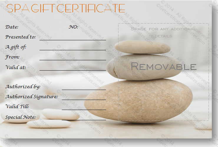 A Simple Day At The Spa Gift Certificate Template