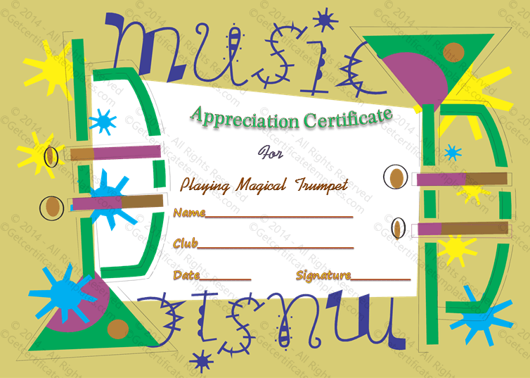 Music award certificate template appreciate music award certificate template yadclub Image collections