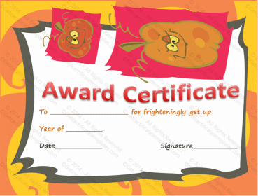 Best Halloween Costume Award Certificate Template