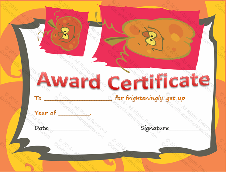 Best halloween costume award certificate template yadclub Image collections