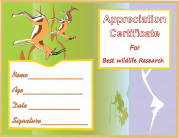 Best Wildlife Research Award Certificate Template