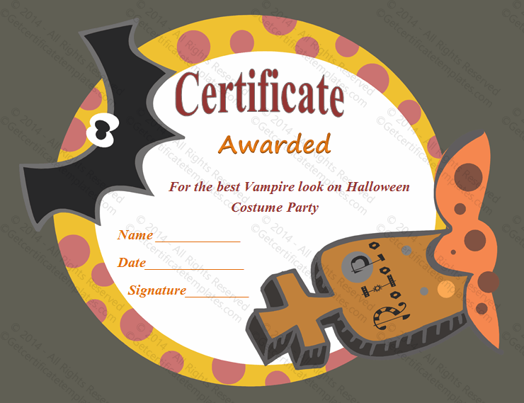 most frightening halloween award certificate template