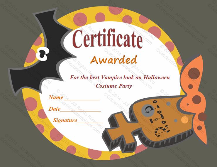 Frightening Halloween Award Certificate Template