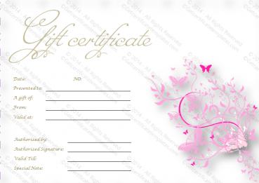 Pink Flies Gift Certificate Template