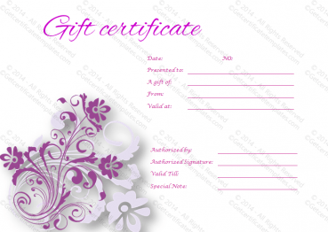 Tranquil Gift Certificate Template