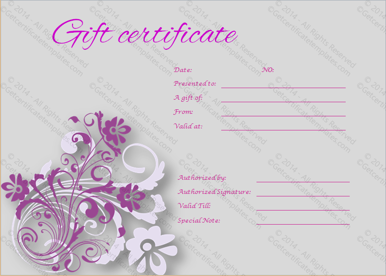 Tranquil Gift Certificate Template - Get Certificate Templates