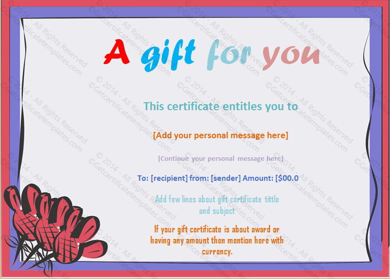 Artistic Frame Gift Certificate Template  Money Voucher Template