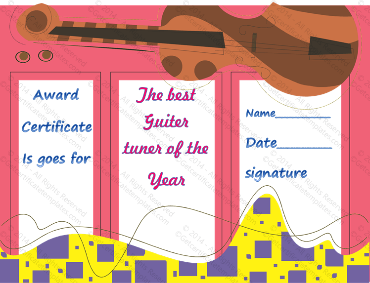 Award Template For Music Guitar Get Certificate Templates