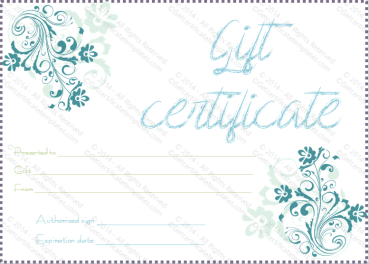 Blueezy Gift Certificate Template