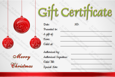 Christmas Balls Gift Certificate Template
