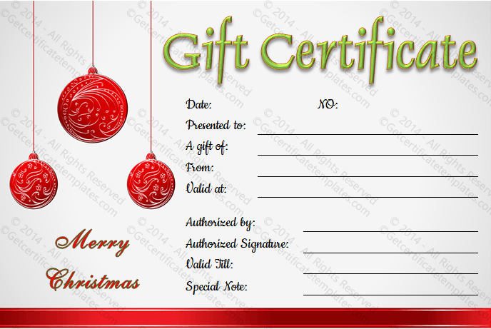 Christmas balls gift certificate template for Homemade christmas gift certificates templates