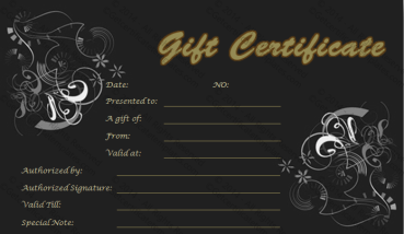 Gold in Black Gift Certificate Template