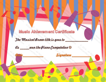 Good Musical Performance Certificate of Achievement Template