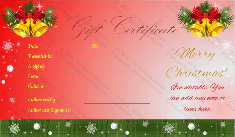 jingle bells christmas gift certificate template. Black Bedroom Furniture Sets. Home Design Ideas