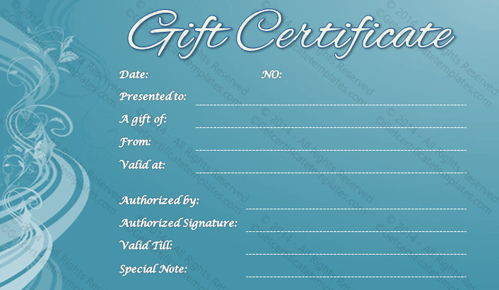 Blue gift certificate template pretty blue gift certificate template yadclub Image collections