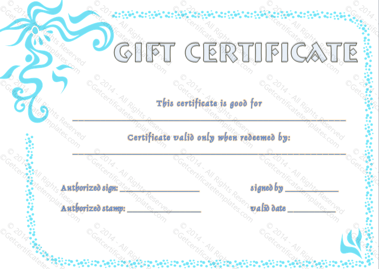 In blue gift certificate template pretty in blue gift certificate template yadclub Image collections