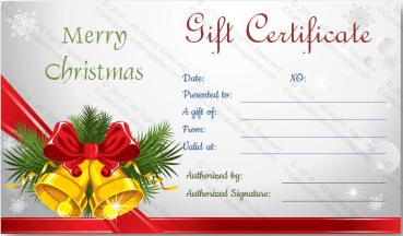 Christmas Bells Gift Certificate Template PR