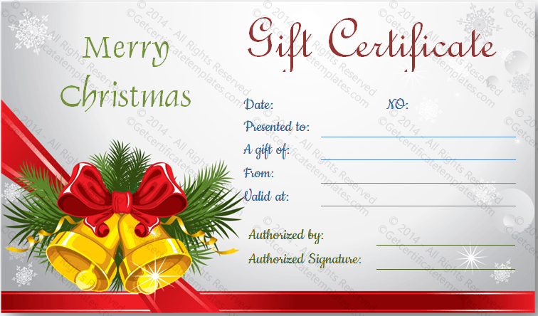 Christmas Gift Card Templates Free. Christmas Bells Gift Certificate  Template . Christmas Gift Card Templates Free .