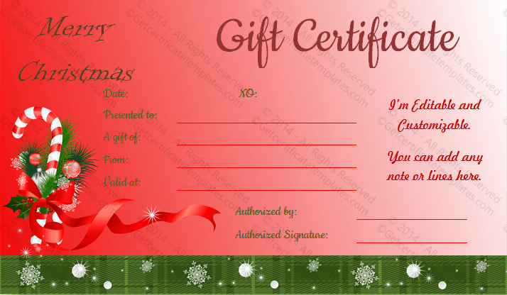 Santa Sticks Christmas Gift Certificate Template