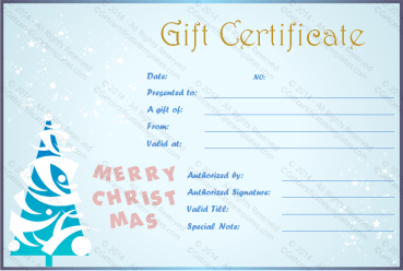 Show Fall Christmas Gift Certificate Template PR