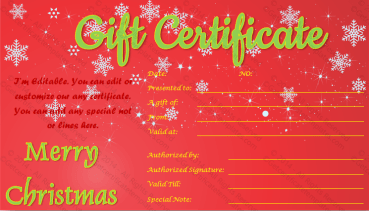 Show Twinkles Christmas Gift Certificate Template PR