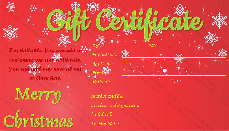 Show twinkles christmas gift certificate template for Holiday gift certificate template free printable