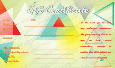 Abstract Triangles Gift Certificate Template