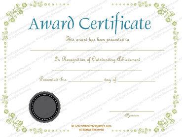 Award Certificate with Flower Border
