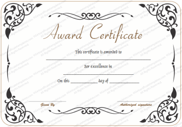 Award Of Excellence Template  Certificates Of Excellence Templates