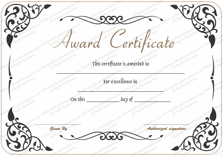 Award of Excellence Template - Get Certificate Templates