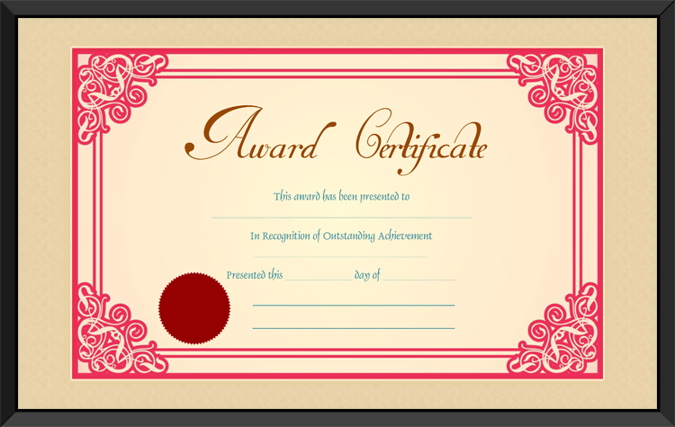 Best Achievement Award Certificate Template