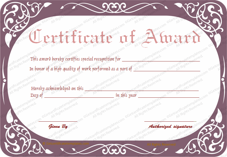 Work performance award certificate template best work performance award certificate template yadclub Choice Image
